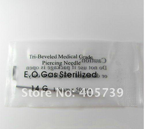 Body Piercing Needles 14g 1 .6mm 15g Sterilized Medical Grade Piercing Tools For Navel Tongue 50pcs /Lot Free Shipping