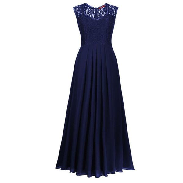Vestidos de fiesta Longo Una línea Gasa con cuello en V Azul marino Vestidos de noche Vestidos de noche con encaje negros y verdes Volver a través Volver