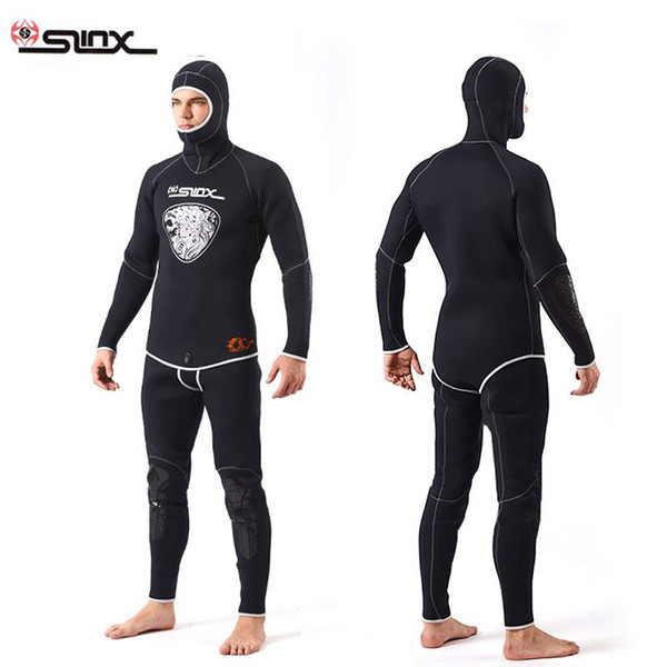 SLINX 1301 5MM Two-piece Diving Suit Long Sleeve Mergulho Full Body Warmth Sunblock Surf Wetsuit with Headgear Men's Sportswear