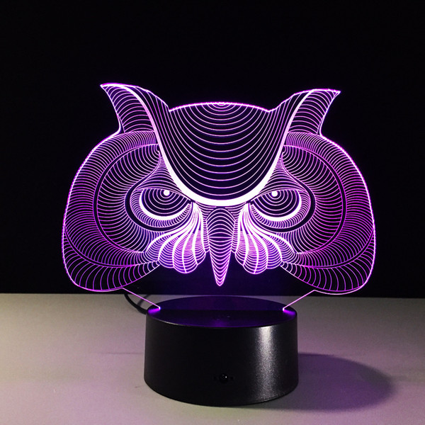 2017 Owl Head 3D Illusion Night Lamp 3D Optical Lamp Battery DC 5V Wholesale Dropshipping Free Shipping