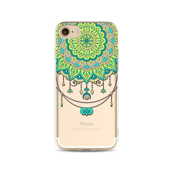 2017 kına beyaz çiçek paisley çiçek mandala baskı boyama telefon yumuşak tpu jel temizle şeffaf case için iphone 5 5 s se 6 6 s 7 7 artı