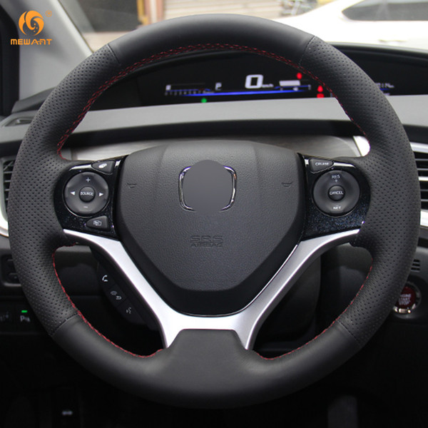 1 DIY Mewant Black Artificial Leather Car Steering Wheel Cover for Honda Civic 9 Civic 2012 2013 2014 2015