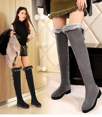 Wholesale New Arrival Hot Sale Specials Super Fashion Influx Martin Elegant Knight Velvet Winter Rabbit Hair Heels Knee Boots EU34-43