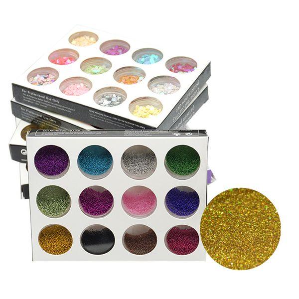 best selling Nail Glitter Powder Dust 12 Color 3D Nail Art Decorations Professional Nails Art Bottle Tips Set Kit DIY Tool