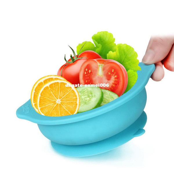 Soft Baby Silicone Sucker Bowl 220ml kids Utensils Tableware Bowls Training Plate Feeding Dish New Year Gift T0406
