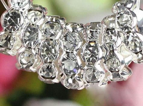 8 мм 10 мм 500 шт. / лот белый прозрачный кристалл Rhinestone rondelle волны распорку бусины, серебро позолоченные ювелирные изделия свободные DIY шарик fit браслет l8732