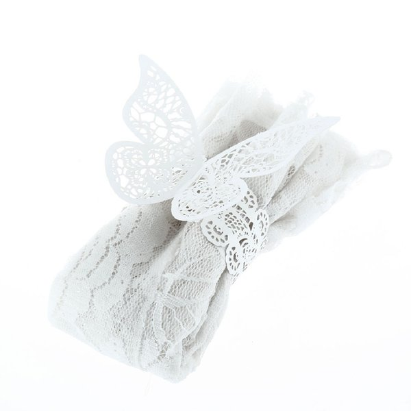 Wholesale- 12 Pcs/lot Pearlescent Paper Butterfly Napkin Ring Wedding Party Serviette Table Decoration Accessories Banquet Dinner Decor