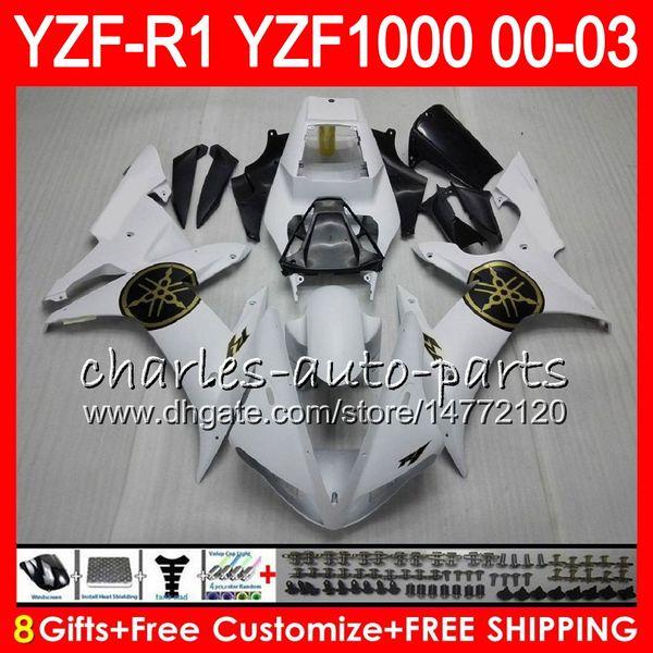 8Gift 23Color Body For YAMAHA YZF R1 YZF 1000 YZFR1 02 03 00 01 62HM14 white black YZF1000 R 1 YZF-R1000 YZF-R1 2002 2003 2000 2001 Fairing