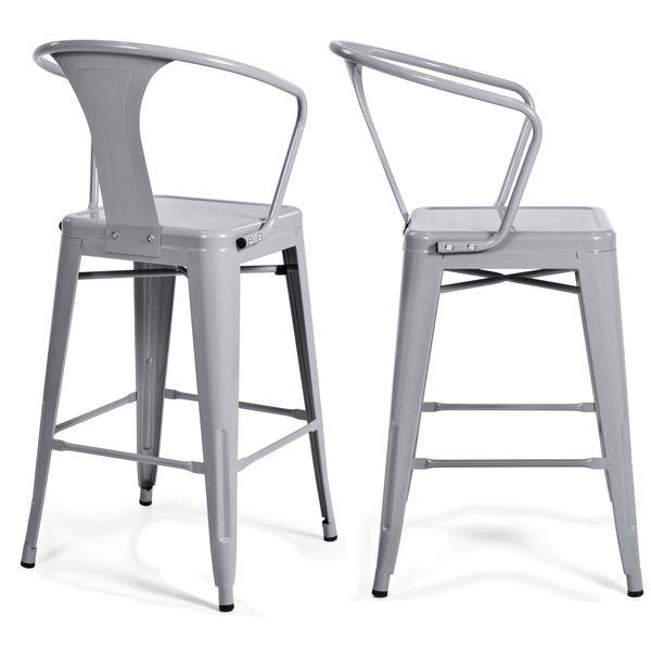 (2) Metall Barhocker Vintage Antiken Stil Barhocker Arm Stuhl Silber