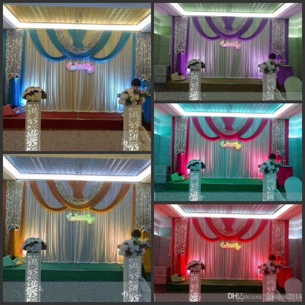 20ft*10ft Luxury ice silk Wedding Backdrop Stage Curtains with swags Silver Sequin Fabric Wedding Props Satin Drape curtain party decoration