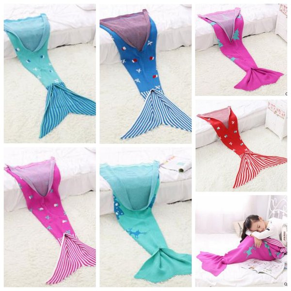 Christmas Blankets.Mermaid Christmas Blankets Kids Mermaid Tail Blankets Mermaid Tail Sleeping Bags Cocoon Mattress Bedroom Sofa Air Condition Blankets B3064 Toddler