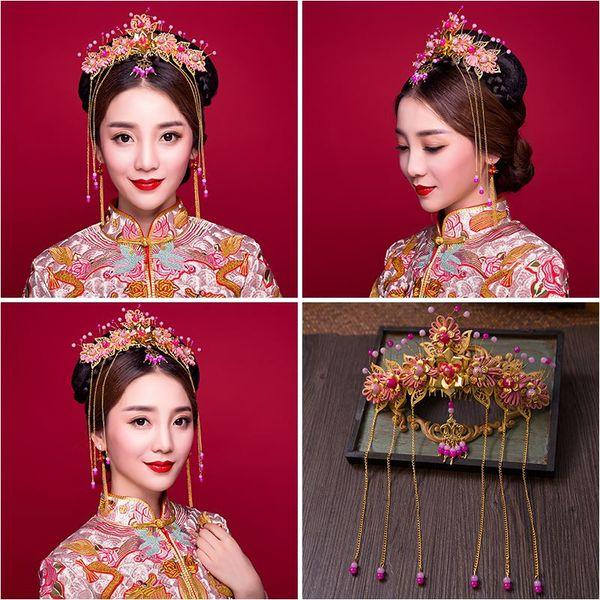 Woman headdress hair Lomen costume bride headdress pink fringed retro Chinese Coronet Xiuhe clothing accessories 6210801