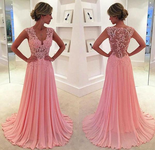 2017 Beautiful V Neck Pink Lace Simple Chiffon Long Prom Dress A ...