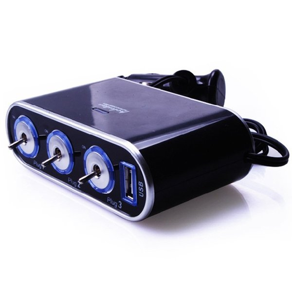 Black 3 Way Auto Car Cigarette Lighter Socket Splitter 12V Charger Power Adapter Plug DC 12V + USB Control free shipping