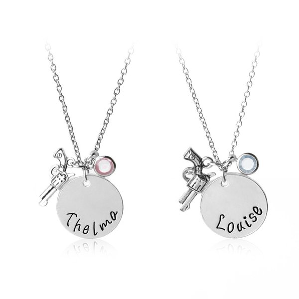 New Louise Thelma Pistol Necklace Crystal Charm Best Friends Forever Friendship Jewelry gift for Women DROP SHIP 162440