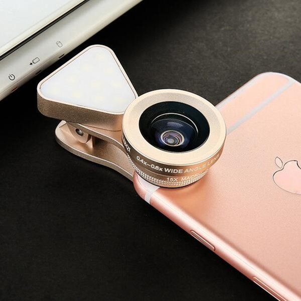cellphone camera Lens 3 in 1 Universal Selfie Light + Wide-angle 10X mic Lens For iphone 7 6 6s plus s7 s8 note5 smart phone DHL free USZ092