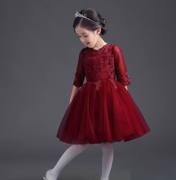 1c492771838e4 2019 Retail 2017 New Girls Perform Dress Wind Red Embroidery Half Sleeve  Flower Girl Wedding Party Dresses From Starbright777, $35.55 | DHgate.Com