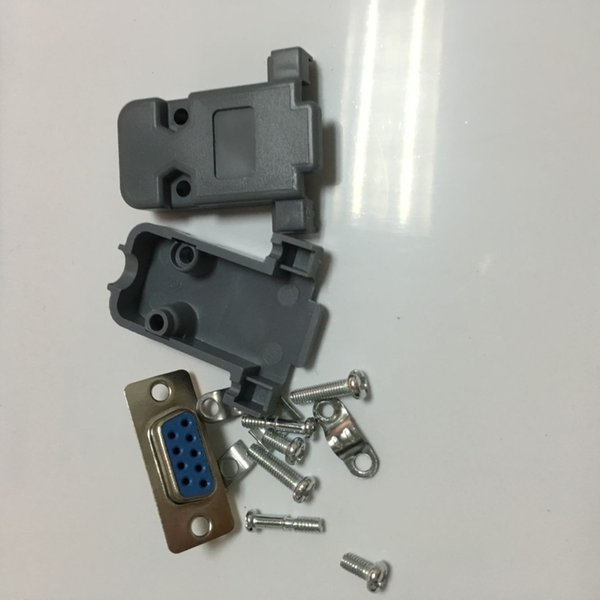 Wholesale- 10 Set RS232 serial port connector DB9 female socket Plug connector 9 Pin copper RS232 COM adapter with Plastic Case DIY HY577-2