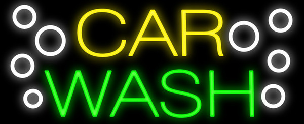 "Car Wash Neon Sign Real Glass Tube Custom Handmade Auto Cars Vehicle Washing Cleaning Store Garage Advertisement Display Neon Signs 19""x10"""