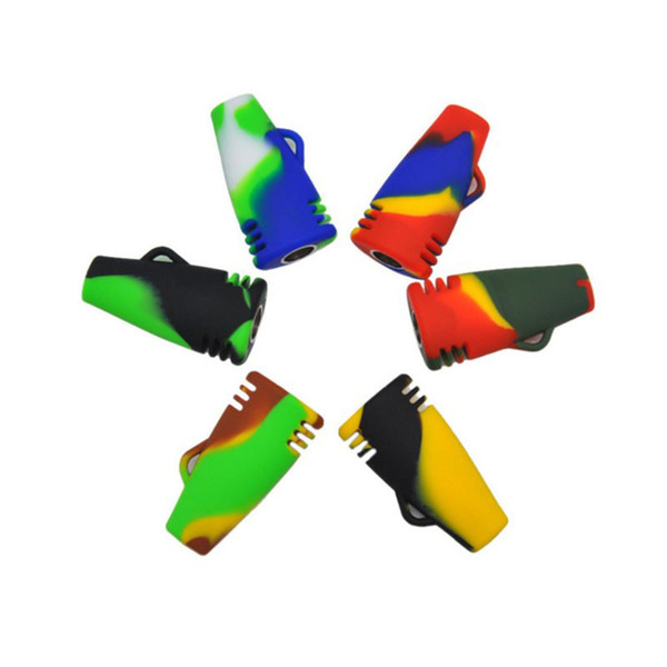 Hot Popular Multi Color Flat Head Small Portable Oil Burner Bong Silicone Smoking Pipes Free Shipping