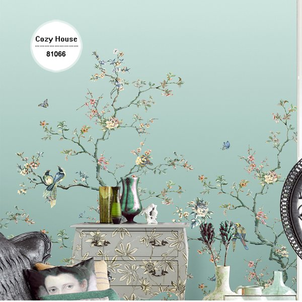 Wholesale- Chinese Wallpaper Bird Flower Gradient Green Christmas Retro Wallpapers Background Wall Papers Home Decor Living Room Mural Roll