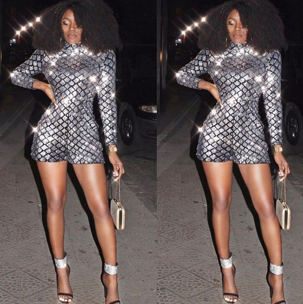 Full Sequins Shinning Sexy Women Bodycon Jumpsuit CHEAPEST Playsuit F0295 Bodysuit Shorts Long Sleeve Glitter Romper
