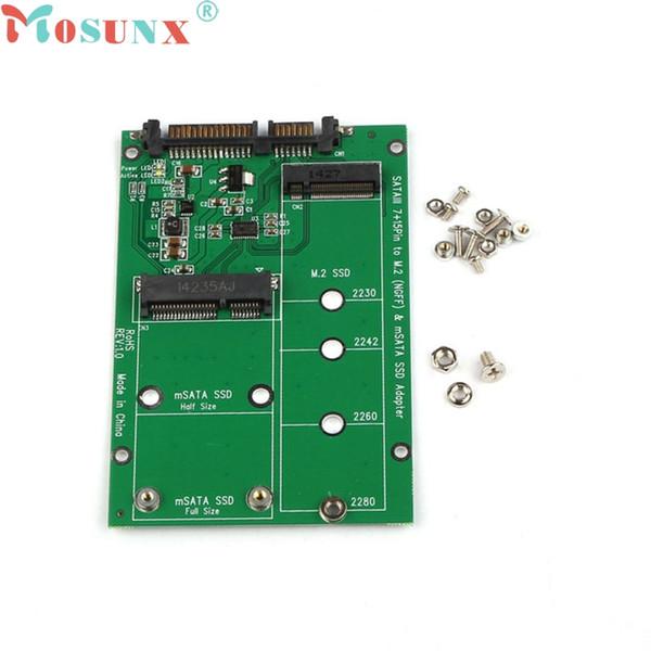 Großhandels-mosunx Mecall 2 in 1 Mini PCI-E 2 Spur M.2 und mSATA SSD zu SATA III 7 + 15 Pin Adapter