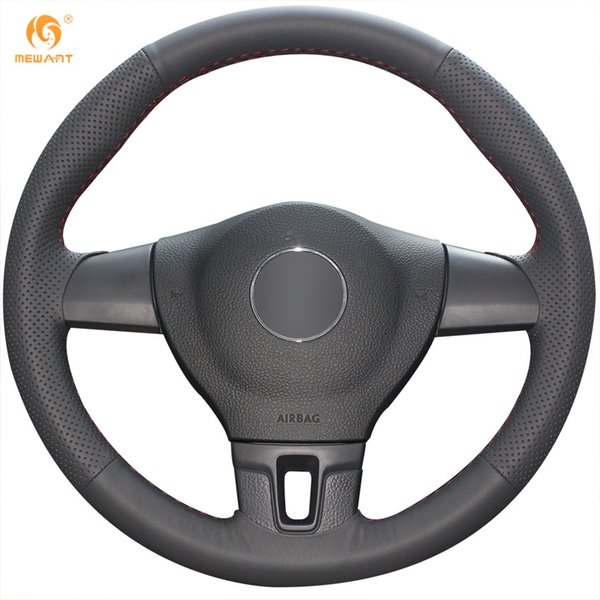 DIY Mewant Black Soft Genuine Leather Steering Wheel Cover for Volkswagen VW Tiguan Lavida Passat B7
