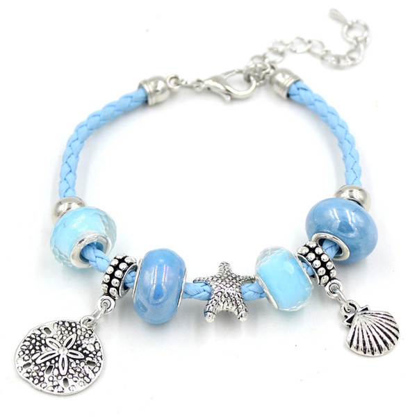 6e79ead1fba New Arrival Charm Bracelet Ocean Beach Charms Bracelet Light Blue Leather  Rope Sand Dollar Charm Bracelets