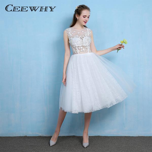 CEEWHY White Illusion Formal Party Dress Vestidos de Festa Tea-length Evening Dress Backless Robe de Soiree Elegant Lace Dress