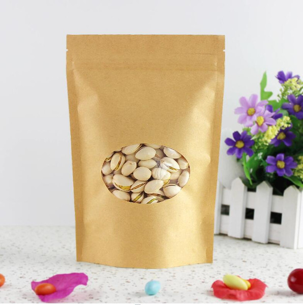 15*22+4cm brown self zip lock kraft paper bags with window for gifts sweets and candy food tea jewelry retail package paper 2.15