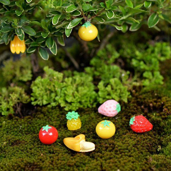 9pcs Christmas Decor Terrarium Figurines Fairy Garden Miniatures Home Accessories Fruit Resin Craft Bonsai Gnomes Jardim Zakka