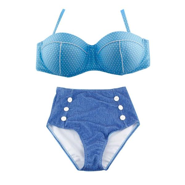 2016 NEW Hot Sexy Retro Denim Biquini Do Vintage Cintura Alta Bikini Set Swimwear Dot Empurrar Maiô Maiô Plus Size biquíni