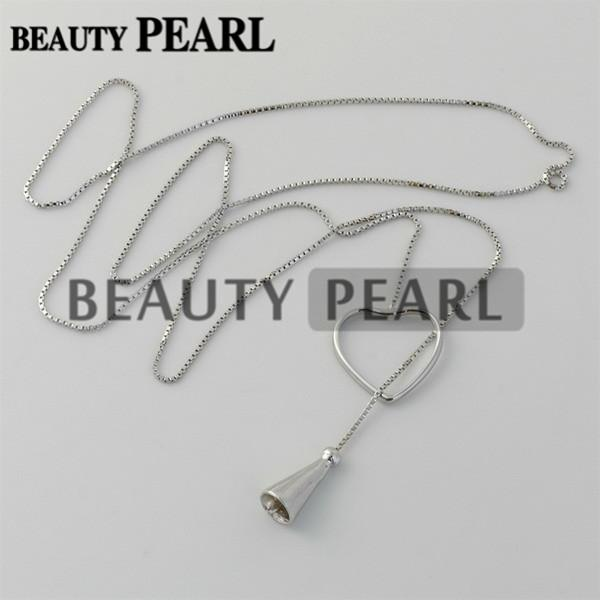 Bulk of 3 Pieces Sterling 925 Silver Box Chain Heart Pendant Mounting Necklace Jewellery Necklace Blanks for Pearls