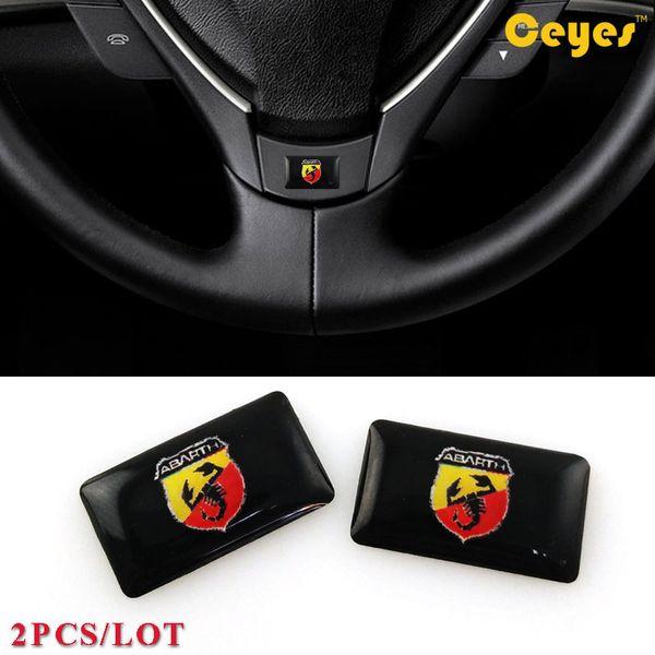 Adesivo personalizzato Abarth Logo Badge Auto Plastica Drop Sticker per Fiat 500 Abarth Accessori auto per l'esterno Styling 2PCS / LOT
