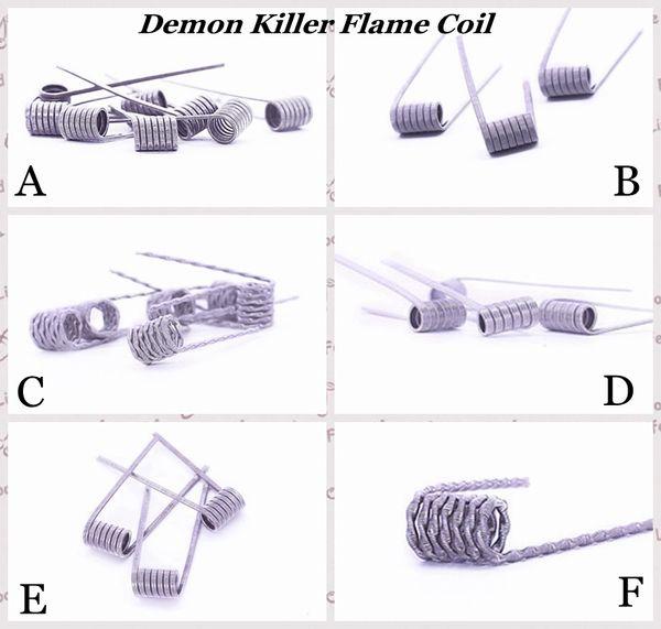 100% Auténtico Demon Killer Flame Coil Alambre preconstruido 316L Calefacción prefabricada Cables prefabricados 6 tipos de resistencia para atomizadores de vaporizador DIY RDA eCig