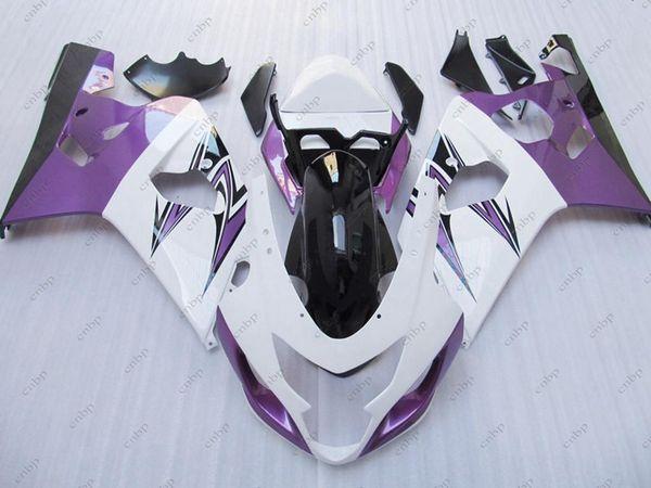 Kits de cuerpo GSXR600 04 Carenados de plástico GSX R600 05 Kits de cuerpo completo violeta blanco GSXR 600 2004 2004 - 2005 K4