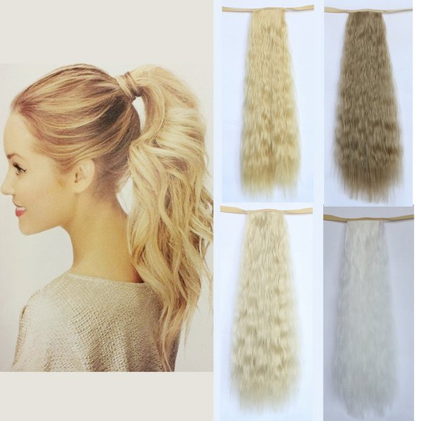 """Wholesale-High Quality 20"""" Long Curly Fake Ponytail Extension White Blonde Clips In On Hair Ribbon Hairpieces Free Shipping"""