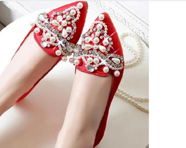Single diamond tip with flat shoes lighter spring big yards for women's shoes