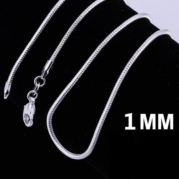 925 Stering Silver Chain Fine Jewelry S925 smooth snake chains Necklace 1MM mixe size 16 18 20 22 24 inch Jewellry Free Shipping