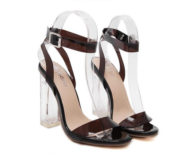 Newest high heel sandals women summer shoes clear transparent crystal shoes size 35 to 40