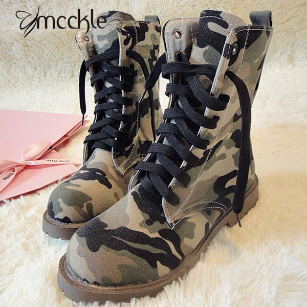 Women'S Camouflage Motorcycle Military Canvas Ankle Boots Lace Up ...