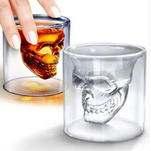 Skull wine glass, crystal skull, beer mug, personalized bar, creative double transparent glass Cocktail Cup Skeleton cup