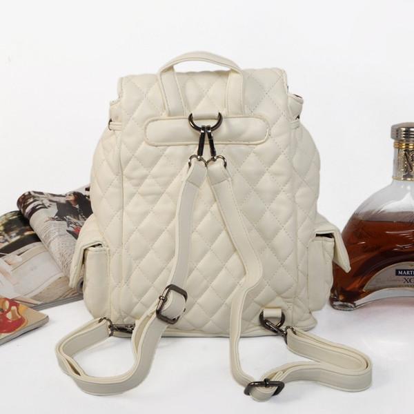 Kadın erkek çift omuzlar sırt çantası deri ile flap halat kapatma tipi kaliteli günlük kullanım çanta 595-1 2 renkler okul çantaları