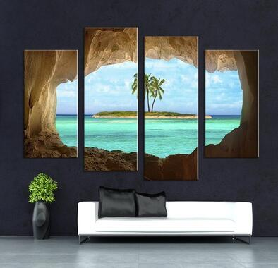 4PCS Fashion Decor Cave Seacape Painting Living Rooms Set Wall Painting Print On Canvas For Home Decor Ideas Paints On Wall Pictures Art No