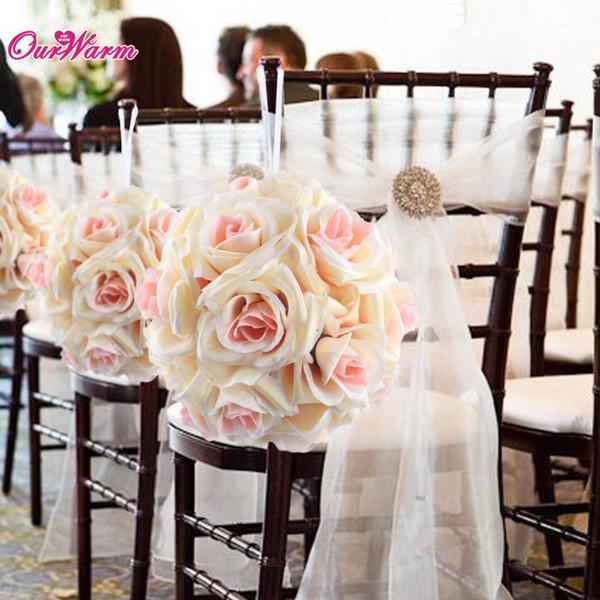 Großhandel-18cm / 7in Seidenband Rose Flower Ball künstliche Pomander Bouquet Kissing Ball Hochzeit Herzstück Dekorationen