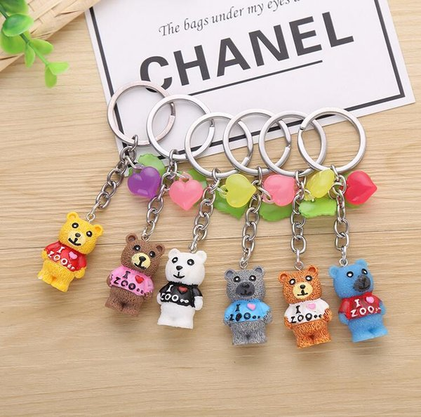 Good A++ Cartoon cute color love resin animal bear key pendant key ring KR120 Keychains mix order 20 pieces a lot