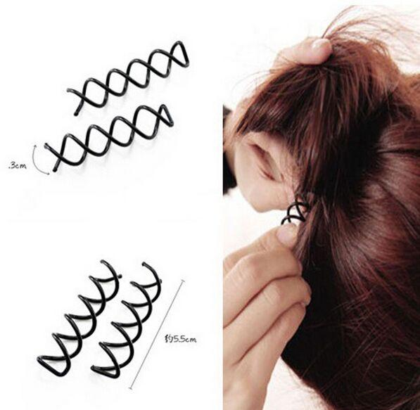100Pcs/Lot Women Ladies Spiral Spin Screw Bobby Pin Hair Clip Twist Barrette Black Brand New Hair Accessories