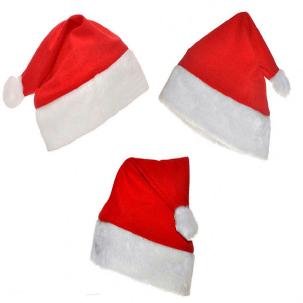 top popular Christmas Hat cap non-woven Christmas Hats caps red Santa Hats Cute red Kids Adults senta caps 2016 new christmas decorations wear cloth 2021
