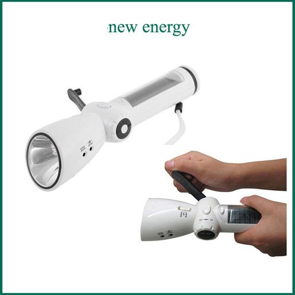 New Portable Fashion Patent Flashlights Generator Solar Hand Crank Dynamo Powered Flashlight Phone Charger Radio Bright Camping Light Tourch